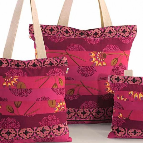 Pink Floral Three in One Bags- 874- Wow- Plain