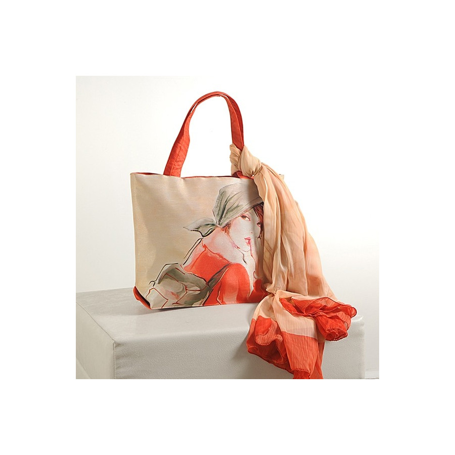 Beige Orange Scarf Bags- SCF- 915
