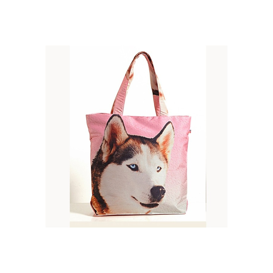 Tote bag with a Huskey Dog  Printed Tote Cotton Shopping Bag For Life