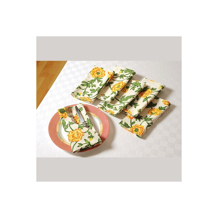 Yellow Rose Dinner Napkins Set- 3701