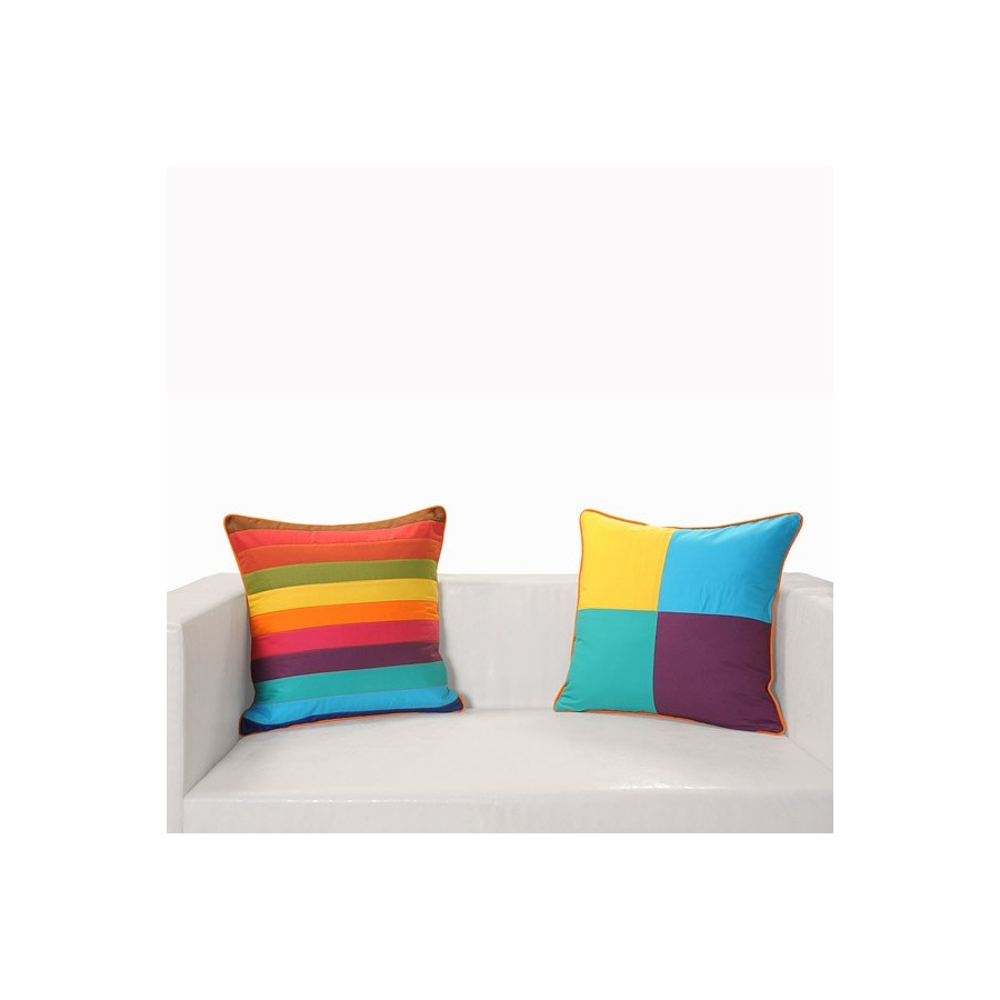 Rainbow Colors Patchwork Cushion Covers- Appl-14002
