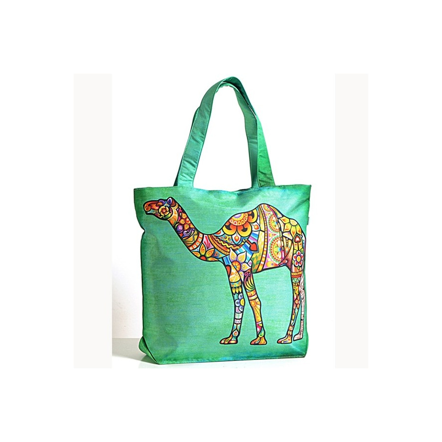 Green Camel Animal Theme Bag- Folk Camel