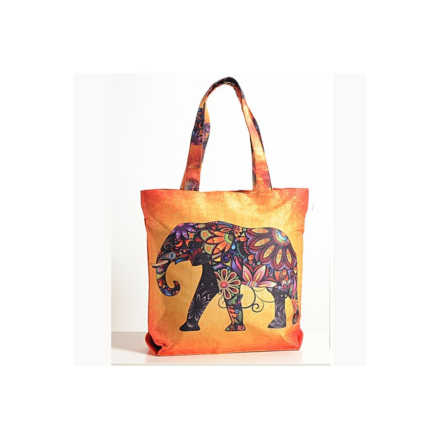 Abstract Elephant Animal Theme Bag- Folk-Elephant