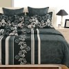 Black Floral Satin Bed Sheets- 1960