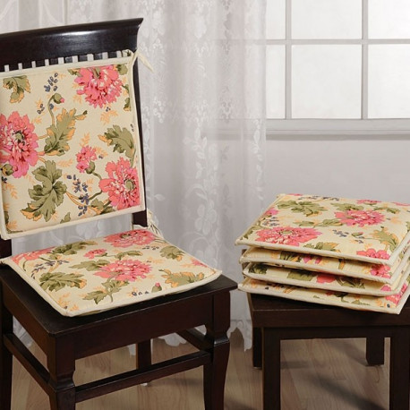 Peach Floral Chair Pads- CPD01- 3612