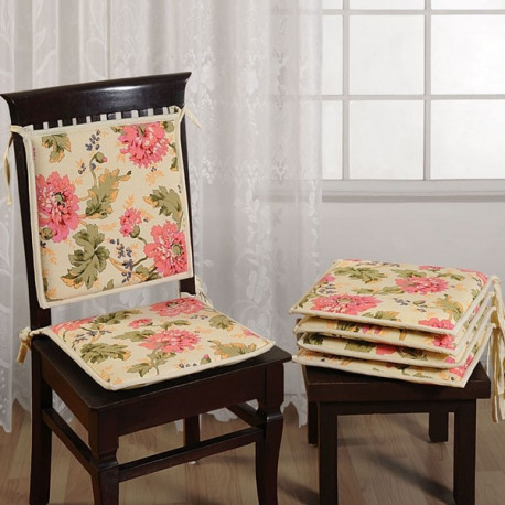 Creamy Floral Chair Pads- CPD01- 3612