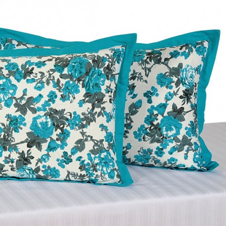 Turquoise Rose Pillow Cover-2711