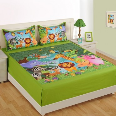 Awesome Double Kids Bed Sheet  DKB 134 Jungle N2