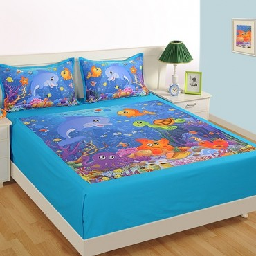 Attractive Double Kids Bed Sheet  DKB 141 Marine N