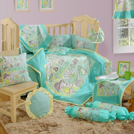 Bright Green Baby Cot Set- 1005