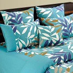 Blue Leaves Contemporary Bed Sheet- Shades of Paradise-7701