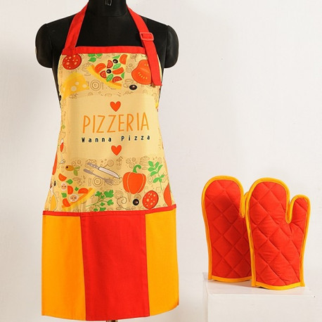 Pizza yellow digital aprons: APT 6009
