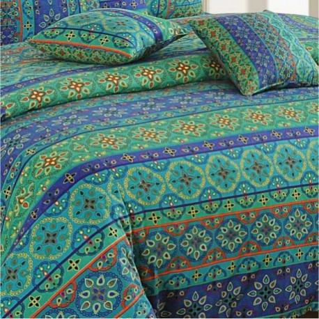 Mystic Blue Bed Sheet- Shades of Paradise- 1423