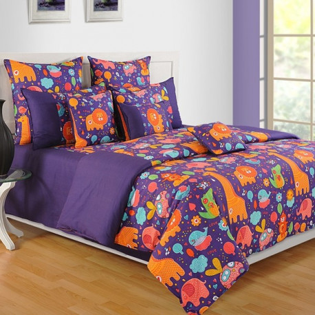 Purple Animals Lil Angel Bed Sheet- LA- 4104