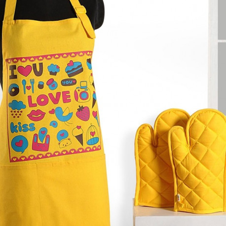 Yellow Love Graffiti Apron- APG03- G013