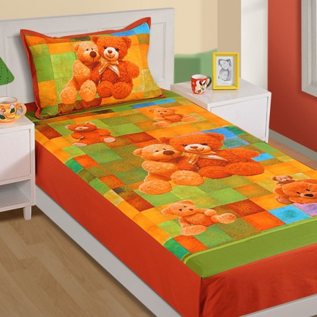 Multi Teddy Kids Single Bed Sheet-SKB-191