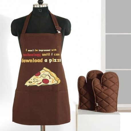 Brown Pizza Graffiti Apron- APG03-G020