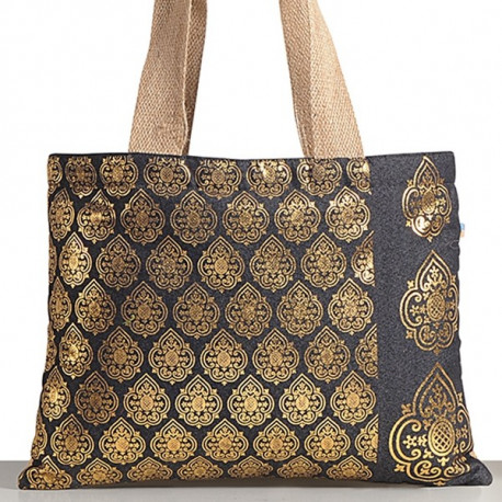 Golden Rain Denim Jute Bags- STD- 753