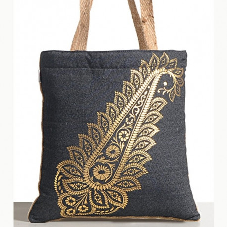 Paisley Denim Jute Mini Bags- 785