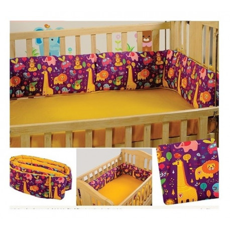 Purple Animals Cot Bumper- Folk Animals
