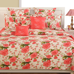 Peach Floral Satin Bed Sheets- 1932
