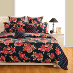 Black Blossoming Flower Satin Bed Sheets- 1938