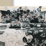 Black Floral Satin Bed Sheets- 1954