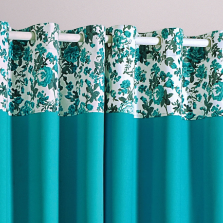 Bond Blue Printed Curtains – 2711
