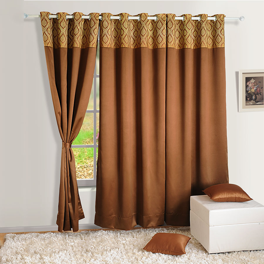 Buy Brown Gold Blackout Curtains Plain Readymade Eyelet