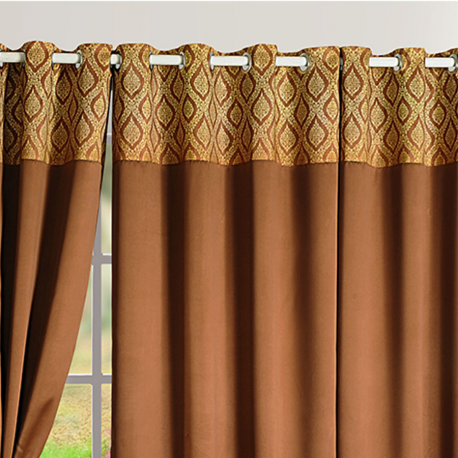 Brown Gold Blackout Curtains – 2001
