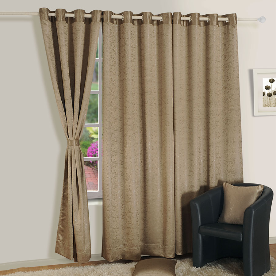 Sandy Brown Jacquard Blackout Curtains – 2054