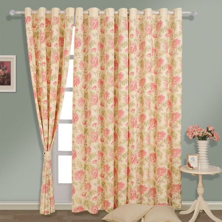 Creamy Blossoms Printed Curtains - 3612