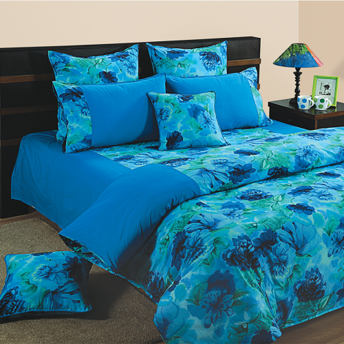 Blue Flowers Fitted Bed Sheet, Shades of Paradise-6715