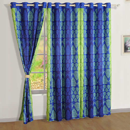blue green printed sigma curtains modern polyester curtains online swayam india. Black Bedroom Furniture Sets. Home Design Ideas