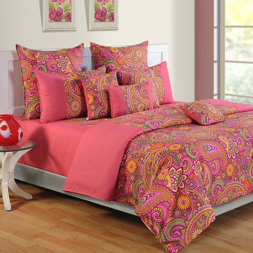 Ethnic Pink Bed Sheets- 2407