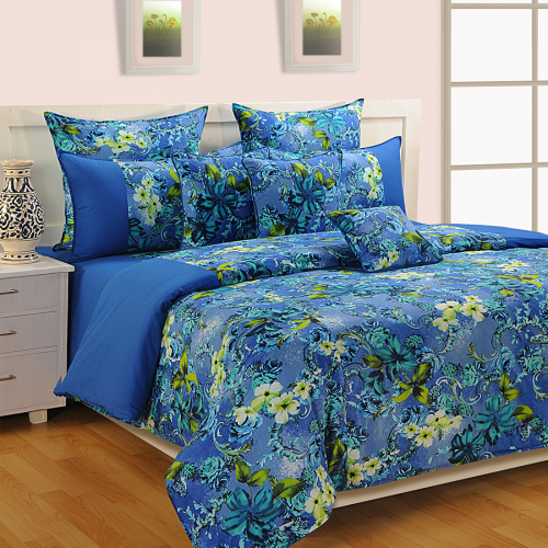 Aqua Flowers Bed Sheet  COL 2610
