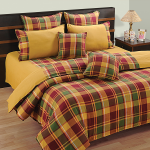 Checkered Gold Bed Sheet- Linea Gold- 3221