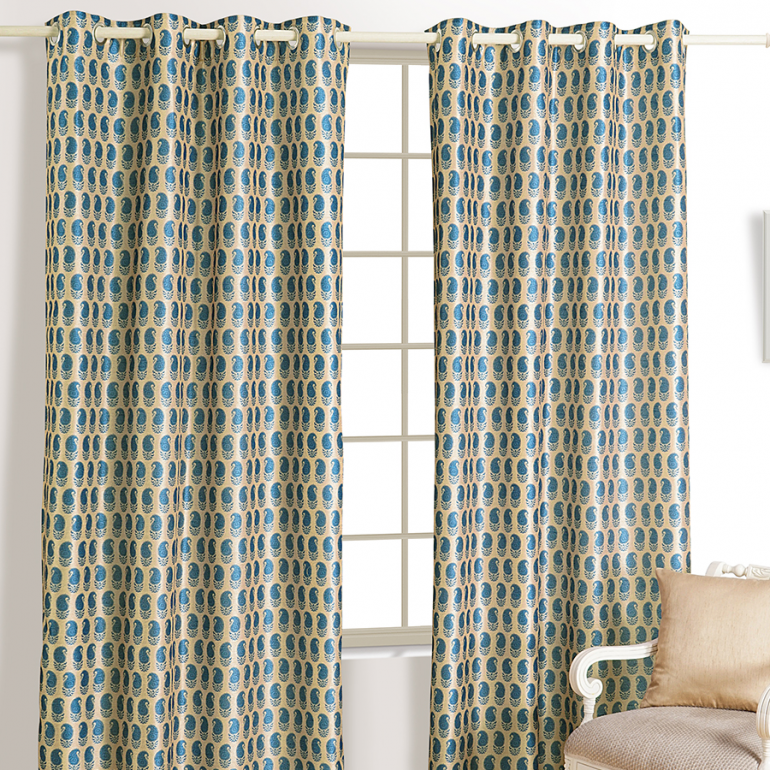Buy Blue Paisley Mulberry Curtains Ready Made Eyelet