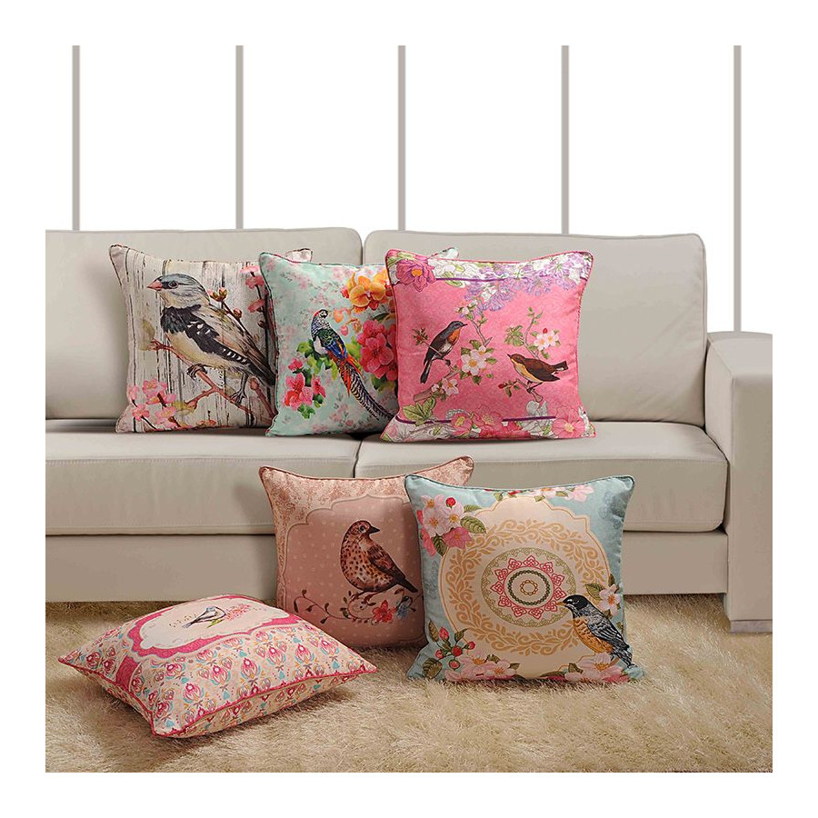 Bird Theme Deco Cushion Cover - 1041 (Set of 6)