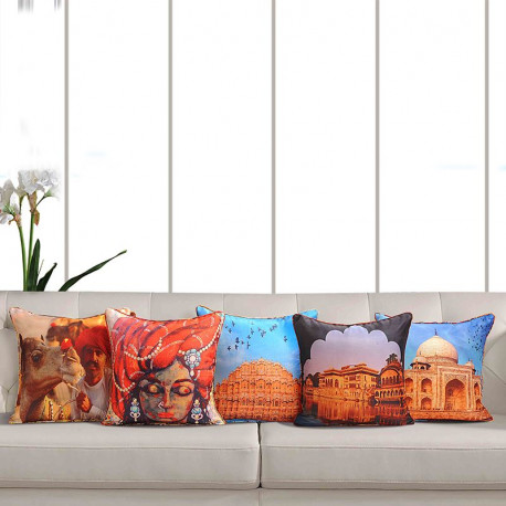 Ethnic Indian Theme Deco Cushion Cover - 1042 (Set of 5)