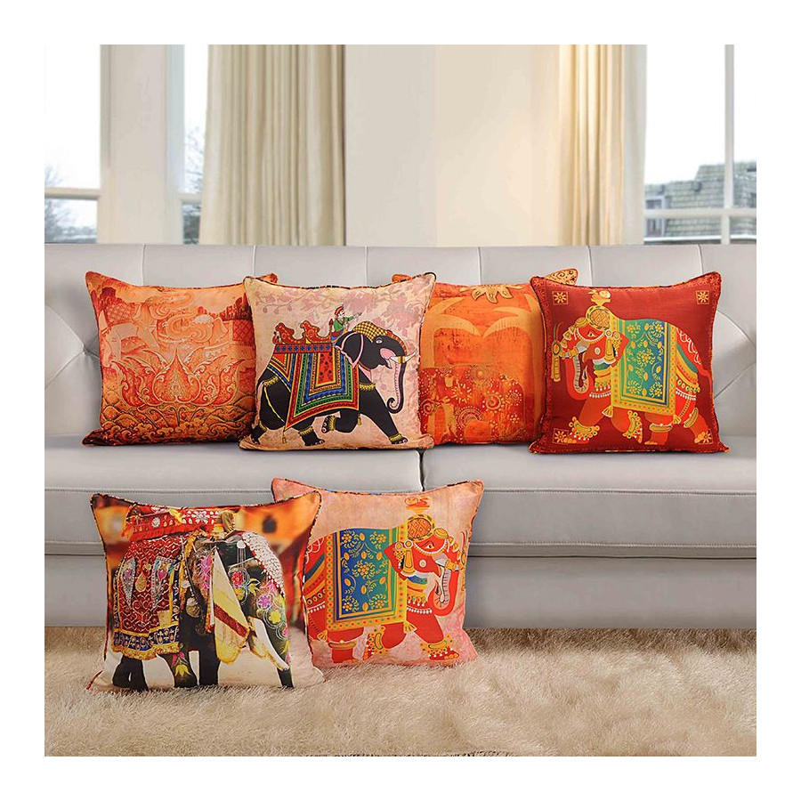 Ethnic Indian Themed Deco Cushion Covers 02 (Set of 6)