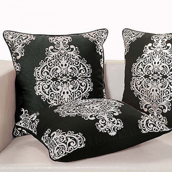 Black Ferrow Foil Cushion Cover - 4451