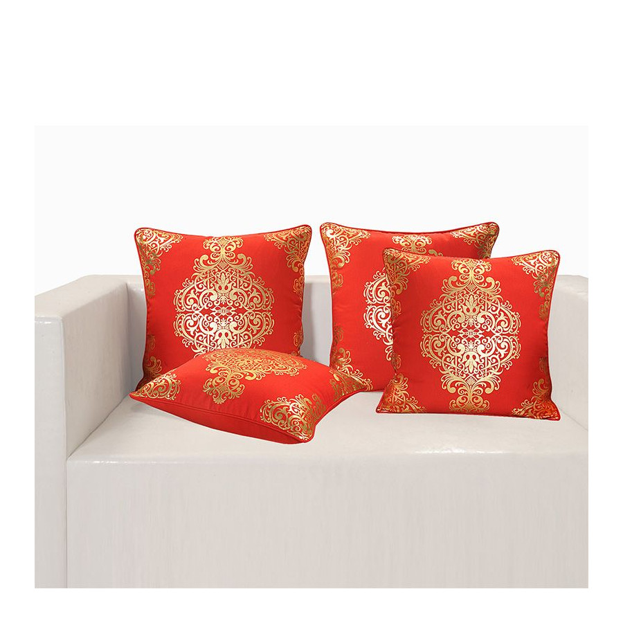 Red Ferrow Foil Cushion Cover - 4451 (Set of 4)