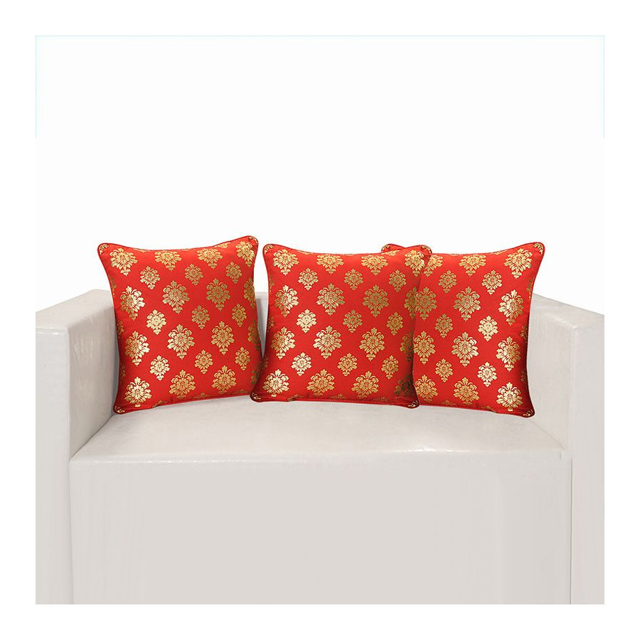 Red Ferrow Foil Cushion Cover - 4453 (set of 3)