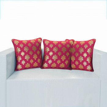Wine Ferrow Foil Cushion Cover - 4453 (set of 3)