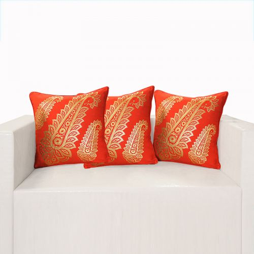 Red Ferrow Foil Cushion Cover - 4456 (set of 3)