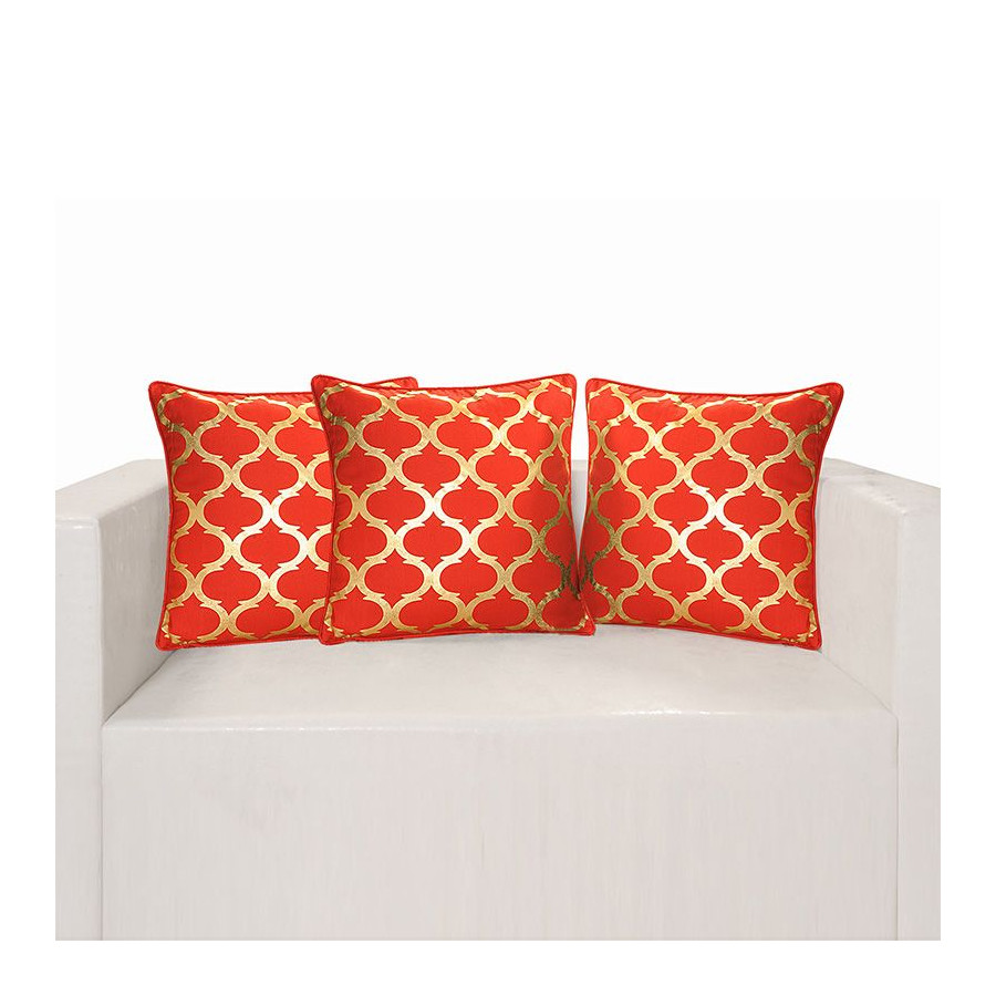 Red Ferrow Foil Cushion Cover - 4457 (set of 3)