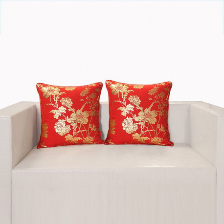 Red Ferrow Foil Cushion Cover - 4454 (Set of 2)