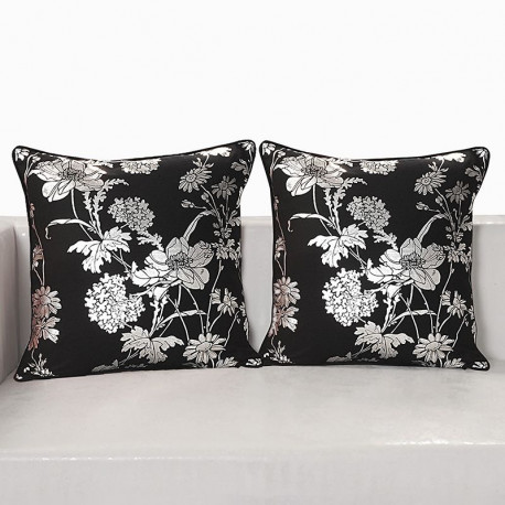 Black Ferrow Foil Cushion Cover - 4454 (Set of 2)
