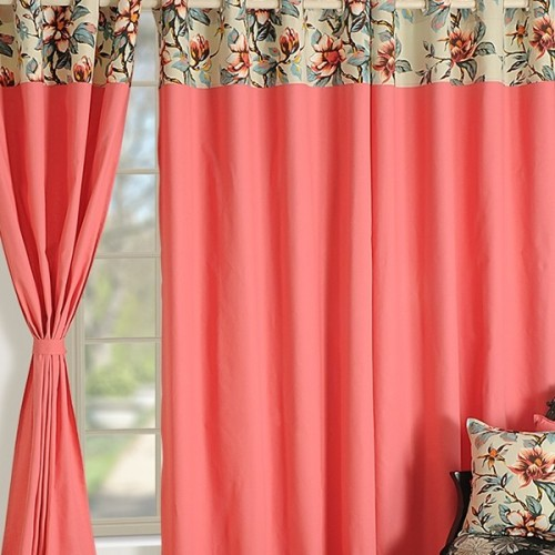Buy Salmon Pink Solid Color Curtains | Plain Readymade Eyelet ...